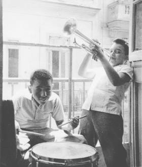 Ignacio Berroa at the drums as a boy in Havana, Cuba in 1964.