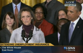 Katherine Hackett addresses a press conference in the White House East Room