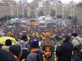Protestors at Independence Square in Kiev during the Orange Revolution in 2004.