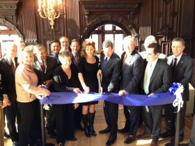 Governor Dannel Malloy and UConn President Susan Herbst were among those gathered to cut the ribbon on the new initiative.