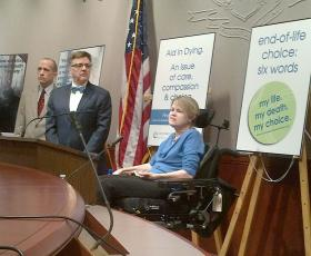 Sarah Myers has ALS and spoke in support of right-to-die legislation.