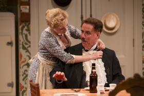 "Jenny Leona and Jeff McCarthy in the Hartford Stage Production of ""The Underpants"""