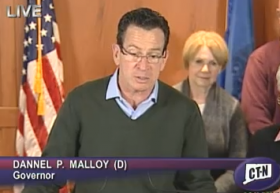Gov. Dannel Malloy at the EOC.