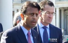 Louisiana Gov. Bobby Jindal and Connecticut Gov. Dannel Malloy outside the White House on Monday.