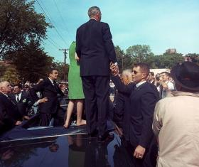 President Lyndon B. Johnson on his poverty tour on May 7, 1964 in Knoxville, Tennessee.