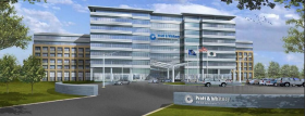 A rendering of planned new headquarters for Pratt and Whitney.