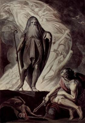 Tiresias appears to Odysseus in this watercolor with tempera by Johann Heinrich Füssli.