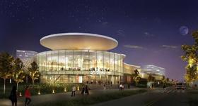 An artist's rendering of Mohegan Sun's planned casino at Suffolk Downs, Revere