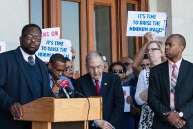 Reverend Samuel Saylor of Hartford spoke at a rally outside the Connecticut State Capitol last May to support raising the minimum wage.