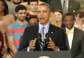 President Barack Obama speaking at CCSU.