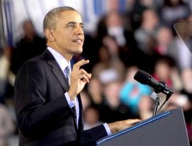 President Barack Obama speaks about raising the minimum wage at Central Connecticut State University.