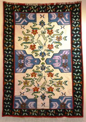 A Bosnian carpet on display.