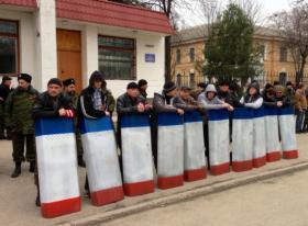 A Crimean self-defense group in Simferopol, Ukraine, on March 2.