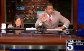 KTLA anchors Megan Henderson and Chris Schauble react to an earthquake Monday morning while on air.