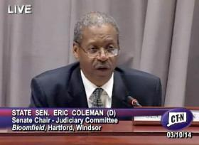 State Sen. Eric Coleman chairing the Judiciary Committee hearing.