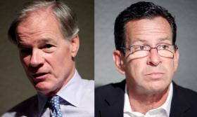Republican Tom Foley (l) and Democratic Gov. Dannel Malloy.