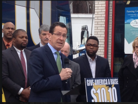 Governor Dannel Malloy addresses the Raise the Wage stop in Hartford.