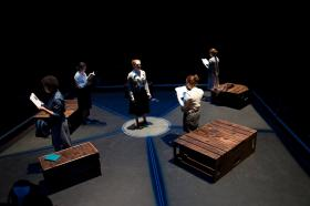 """A scene from Claire Whitehouse's play """"a la ronda"""" based on stories from the Madres de Plaza de Mayo."""