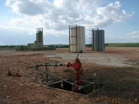 A well head after fracking equipment has been taken off location.