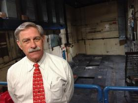 Mike Killian stands in the building that once housed the presses of the Meriden Record-Journal.