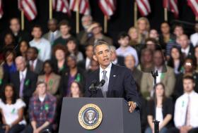 President Barack Obama speaks at the University of Hartford in 2013.