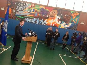 Governor Malloy speaks about the bill at the Trinity College Boys & Girls Club in Hartford.