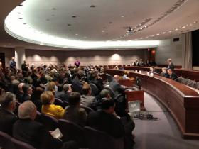 CBIA members listen to legislative leaders during Connecticut Business Day at the Capitol