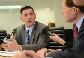 Office of National Drug Control Policy Acting Director Michael Botticelli (left) and Senator Blumenthal discuss how to fight this epidemic.