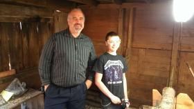 Mushroom farmer Rick Baxley, left, with Christian Lamontagne at 7 Falls Mushroom Farm in Higganum.