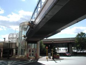 Access to a parking garage underneath I-91 in downtown Springfield and a pedestrian bridge. Partial closure may be necessary during highway reconstruction.