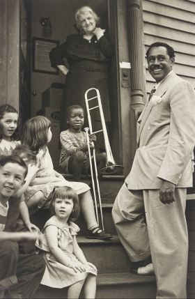 Cab Calloway with Kids and the Winner of the Calloway Quizzical, Providence, Rhode Island, ca. 1938. Gelatin silver print.