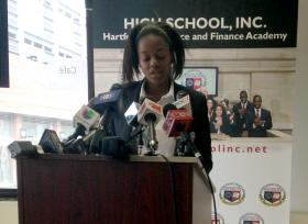 Shanesha Jones, a senior at High School, Inc. in Hartford.