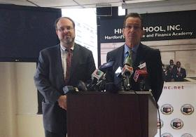 Education Commissioner Stefan Pryor with Governor Dannel Malloy.