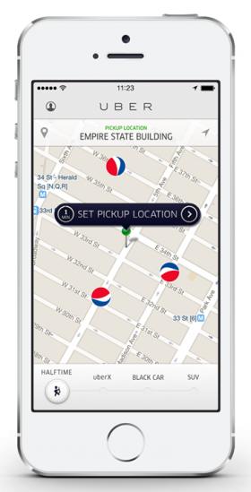 The Uber smartphone app.