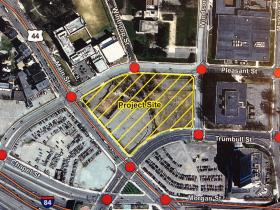 The proposed site for a Hartford ballpark.