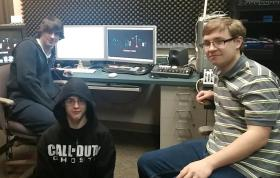 Students Scott Krebs, Duncan Bennett, and Jared Hoyt in the production room.