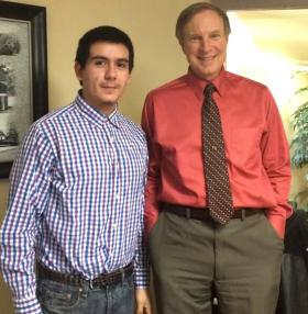 Student Jose Magana, left, with engineer Ken Sgorbati after their interview at Sgorbati's Hamden office.