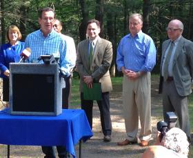Gov. Dannel Malloy and officials announced a free state park weekend during a news conference at Sleeping Giant State Park in Hamden.