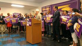 Lt. Gov. Nancy Wyman and Gov. Dannel Malloy accept the endorsement of the state's largest union, the SEIU. They represent more than 65,000 workers in the state. Malloy accepted the endorsement at the SEIU's New England Headquarters in Hartford.