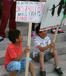Children at a rally in New Haven to support Central American migrant youth.