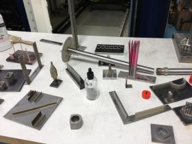 Metal parts made by 3D printing at CCAT's center.