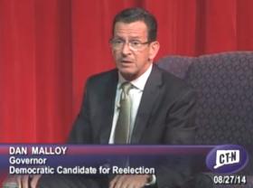 Democrat Dannel Malloy at the Norwich debate.