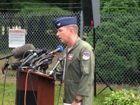 Colonel James Keefe addressed the media earlier this week at Barnes Air National Guard Base.