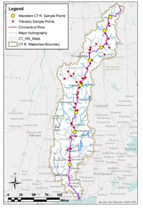 Sample points along the Connecticut River.