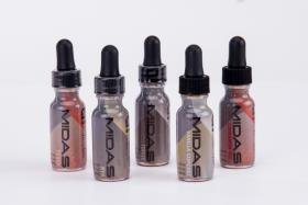 An assortment of liquid nicotine bottles.