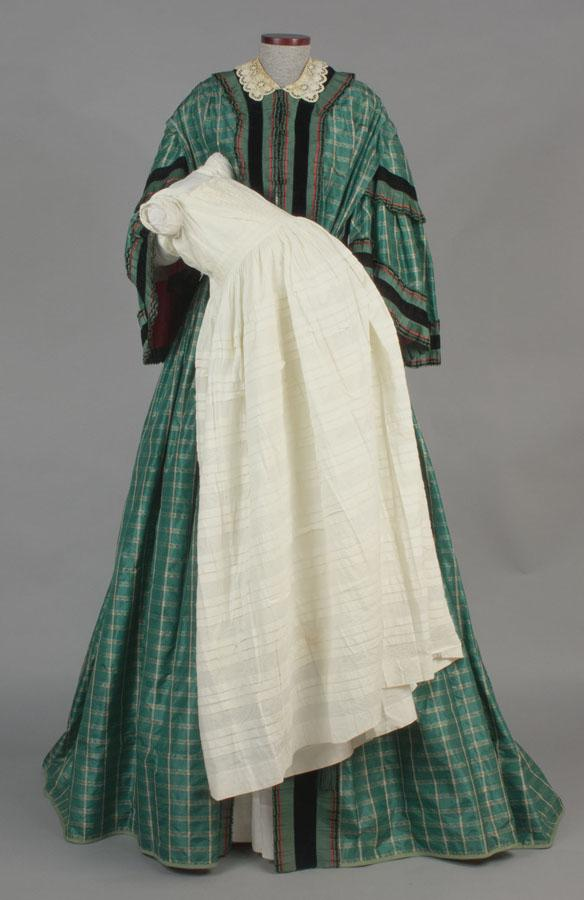 Wrapper, about 1860. This wrapper (yet another name for a female dressing gown) allowed the wearer to do without tight and cumbersome undergarments.