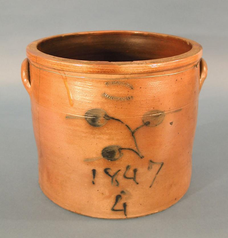 Jar or Crock. Made by Sidney Risley, 1847. This simple utilitarian piece recalls earlier forms produced by Armstrong & Wentworth.