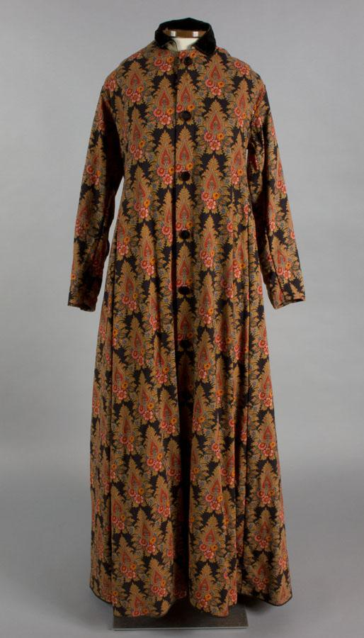 Woman's Dressing Gown, about 1865-1870. Men were not the only ones to take advantage of brightly printed textiles in their dressing gowns.  Women also enjoyed using colorful fabrics for their at-home wear.