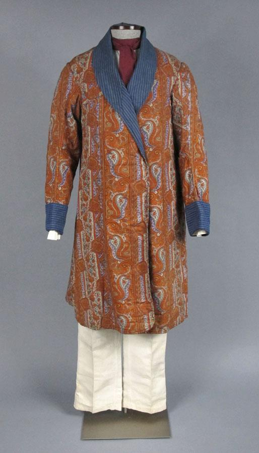Man's Dressing Gown, 1860s. This dressing gown makes use of paisley, a popular textile pattern of the day.  The colors and print contrast with the somber dark suits of the period.