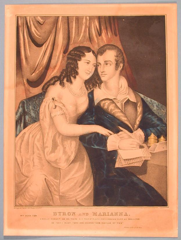 Byron and Marianna. This lithograph by Hartford's Kellogg brothers provides a glimpse of early nineteenth-century leisure wear.  Note how Byron (d. 1824) is depicted in a dressing gown rather than a restrictive jacket.